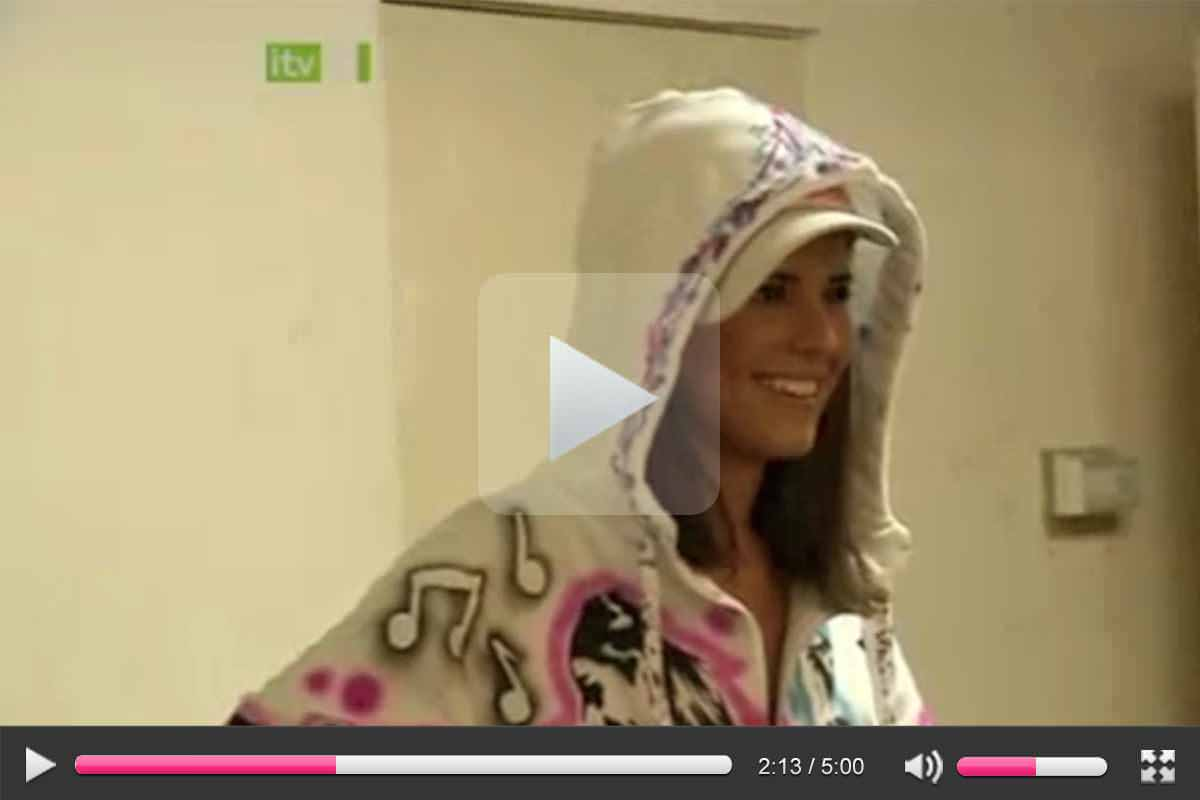 Cheryl Cole wears a custom Hoody by Pins for a TV show