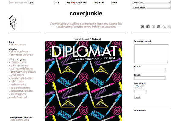 Coverjunkie feature the new Diplomat cover by Pins