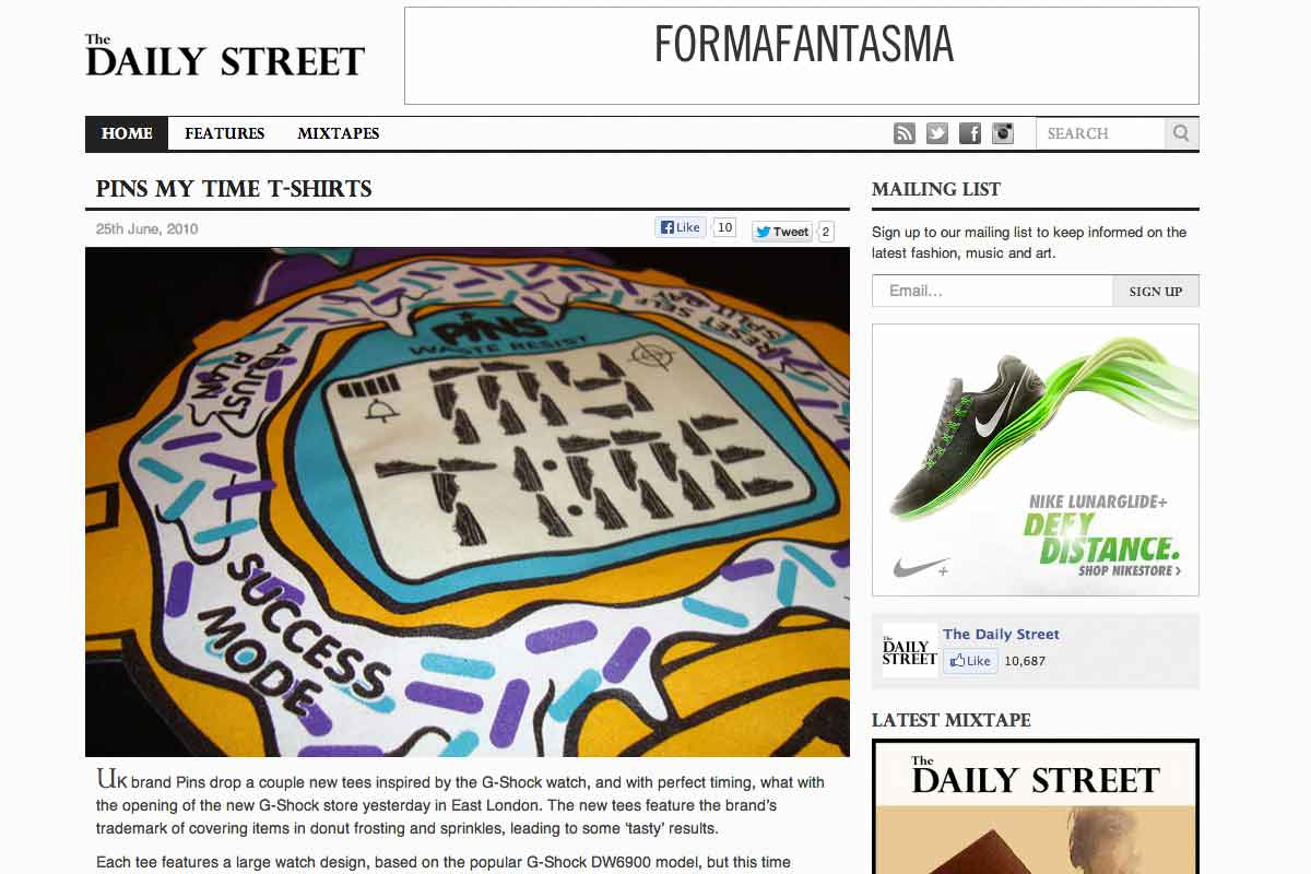 Pins' My Time tee featured on The Daily Street