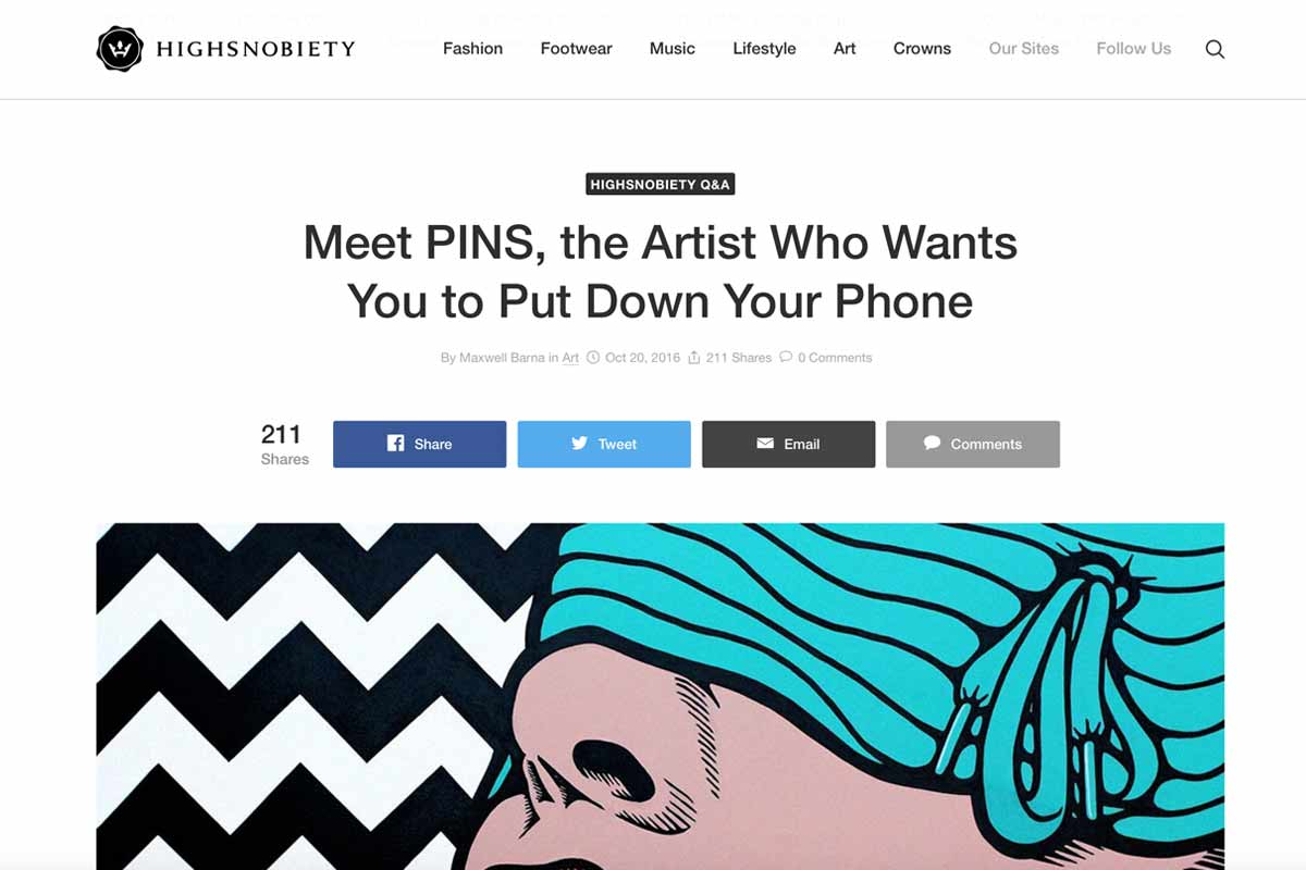 Highsnobiety interview Pins about his independent show #NoFaceLikePhone