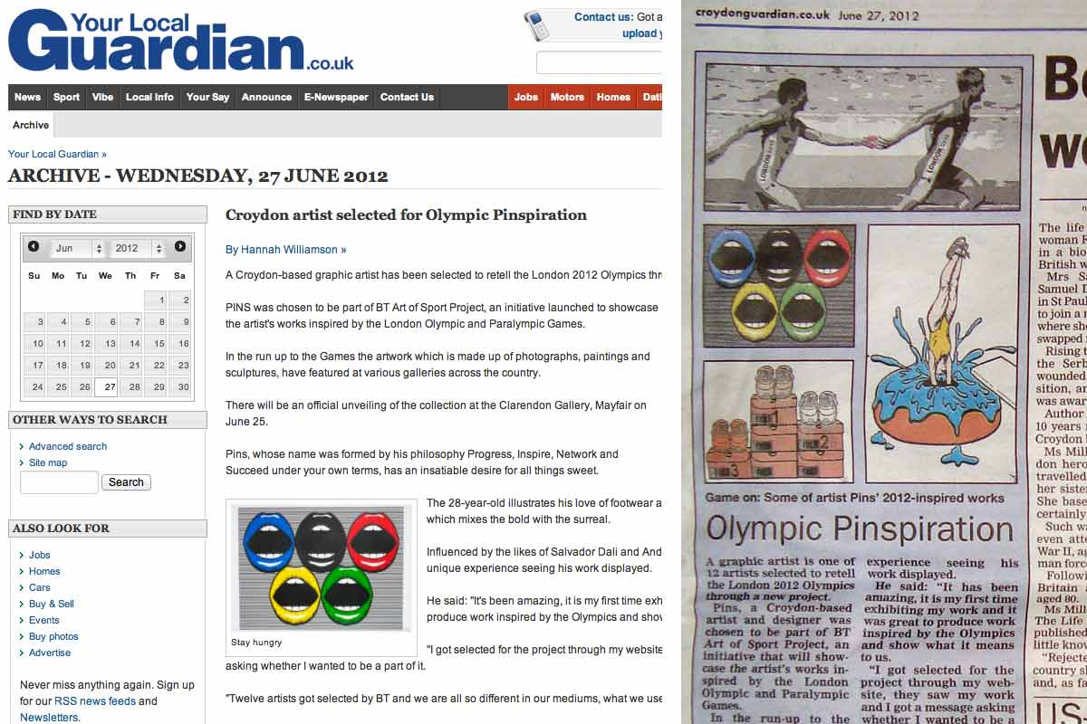 Pins' work for the 2012 Olympics featured in the Croydon Guardian