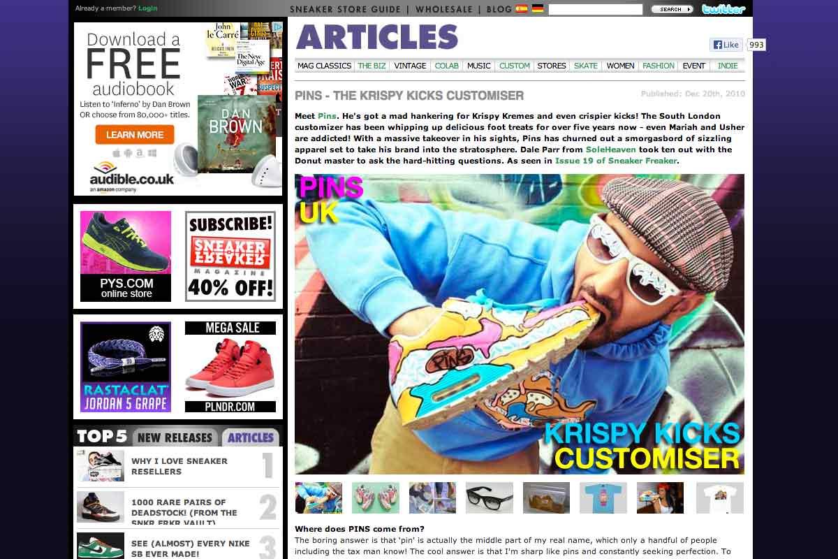 'The Krispy Kicks Customiser' - Sneaker Freaker interviews Pins