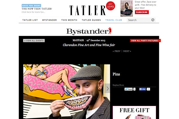 Tatler Magazine feature coverage of Pins at the Clarendon Art gallery