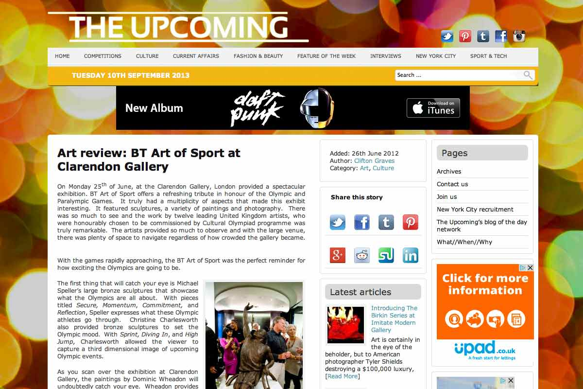 Review of the BT Art of Sport exhibition where Pins artwork was displayed