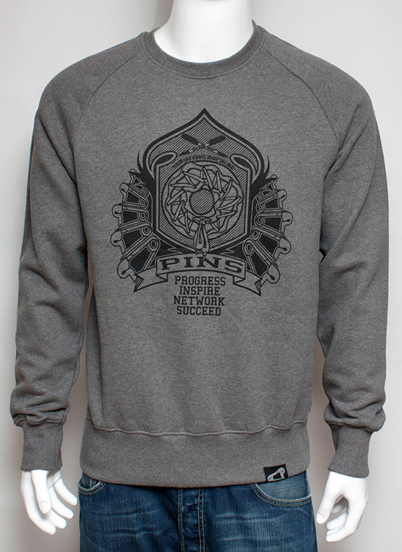 Pins Crest Sweatshirt Grey