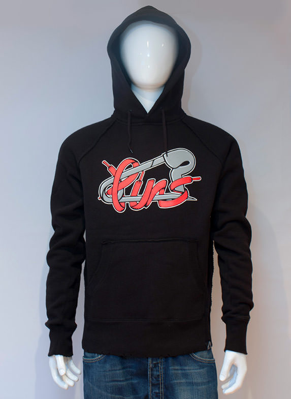 Lacy Pins Hoodie Black Red